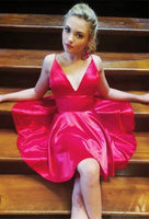 A-Line Spaghetti Straps Above-Knee Red Satin Homecoming Dress S767