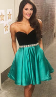 Sweetheart Short Black and Green Party Dress with Pockets  S768