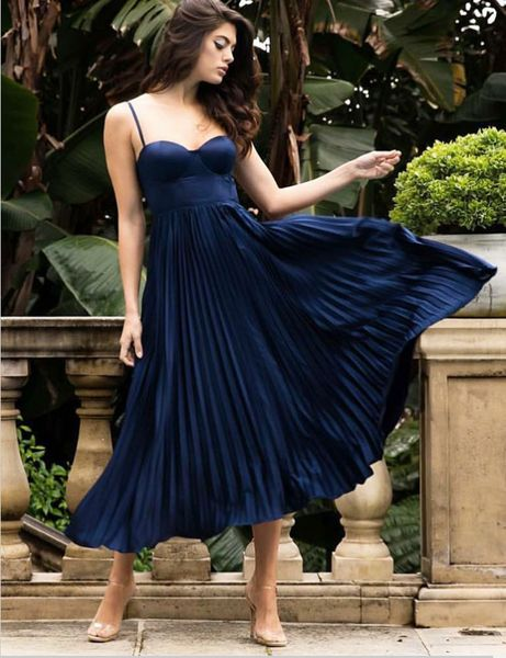 A-Line Spaghetti Straps Pleated Navy Blue Satin Prom  Dresses  S771