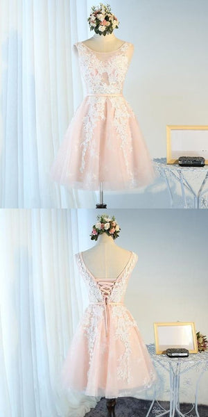 A-Line Scoop Neckline Tulle Sleeveless Homecoming Dresses  S773