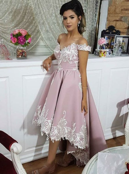 Pink High Low Off Shoulder Satin Lace Appliques Prom Dresses S776