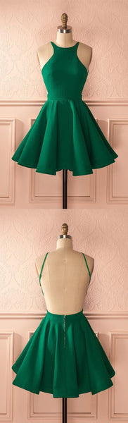 Green homecoming dresses,backless homecoming dress S783