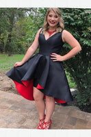 Great Plus Size Homecoming Dress, Black Homecoming Dress, Homecoming Dress High Low S786