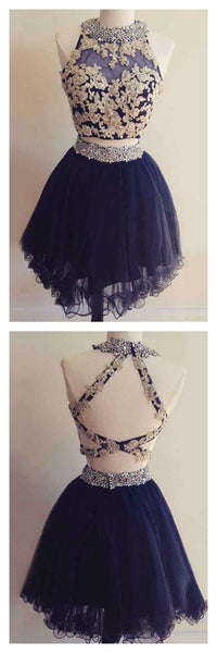 Navy Blue Two Pieces Short Tulle Homecoming Dresses   S792