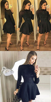 A-Line Round Neck Long Sleeves Black Satin Short Homecoming Dress with Beading S802