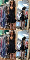 Charming Prom Dress, Sexy Short Black Homecoming Dress S806