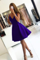 Short V-neck Satin Homecoming Dresses With Straps  S809