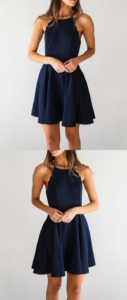Navy Blue Homecoming Dresses, A-Line Homecoming Dresses S80
