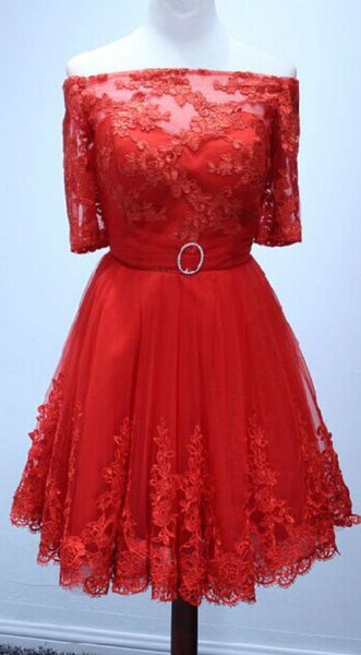 Homecoming Dress Half Sleeve Red Lace Short Homecoming Dress Short Prom Dress S821