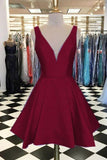 Custom Made  Burgundy Homecoming  Dress, V Neck Homecoming  Dress    S825