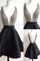 Short  Black  Backless Homecoming  Dresses, V Neck   Homecoming Dresses    S828