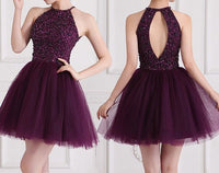 Short Prom Dress, Purple Prom Gown with Beaded, Prom Party Dress, Party Gowns, Homecoming Dress S831