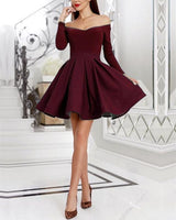 Short Satin Ruffles Prom Homecoming Dresses With  Sleeves  S839
