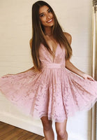 Hot Selling Sexy Deep V Neck A-Line Short  Pink  Homecoming Dress   S842