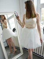 Two Piece Bateau Short White Tulle Homecoming Dress with Appliques Sleeves   S843