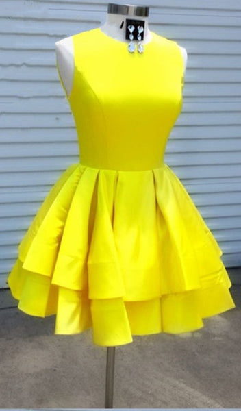 Knee Length Yellow Modest Homecoming Dress S848