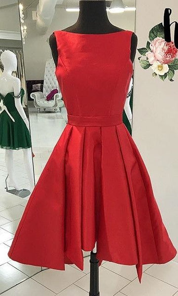 Knee Length Red Modest Homecoming Dress S849