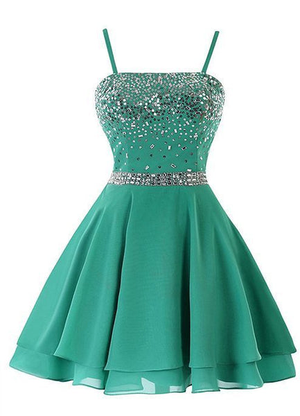 Short A-line Mint Green Chiffon Beaded Sequin Homecoming Dress With Spaghetti Strap S851