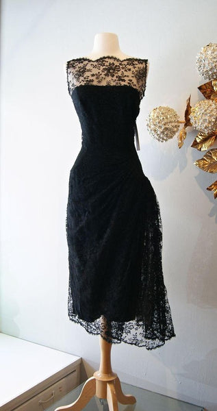 Vintage Cocktail Dresses  Black Lace Prom Dress Sheer Bateau Neck Tea Length Evening Gowns  S858