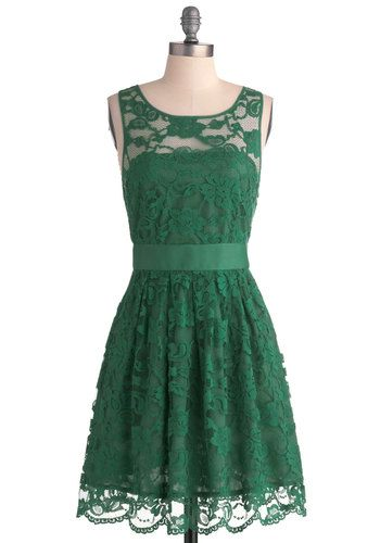 Green   Homecoming Dress  With Lace  S861
