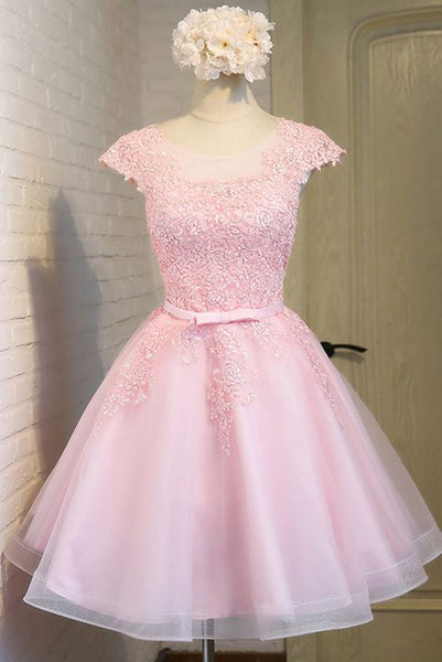 Cute Peach Pink Homecoming Dresses Lace Short Tulle Party Dress with Cap Sleeves S862