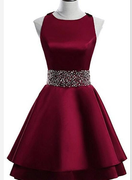 Dark Red Satin Short Two Layered Homecoming Dress, O-neckline Party Dress, Short Formal Dress S869