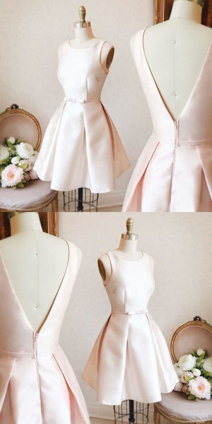 Cute Homecoming Dress A-line Scoop Bowknot Pearl Pink Short Prom Dress Party Dress S86