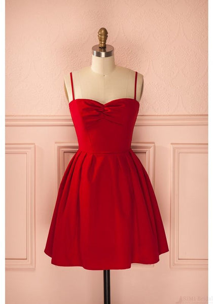 Red Spaghetti Straps   Mini Homecoming Dresses S874