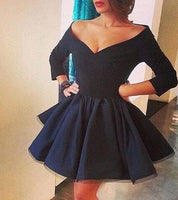 Vintage Off-the-shoulder Three-quarters Sleeves Navy Short Satin  Homecoming Dress S884
