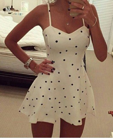 Sexy Spaghetti Strap Polka Dot  Short Homecoming Dress S883