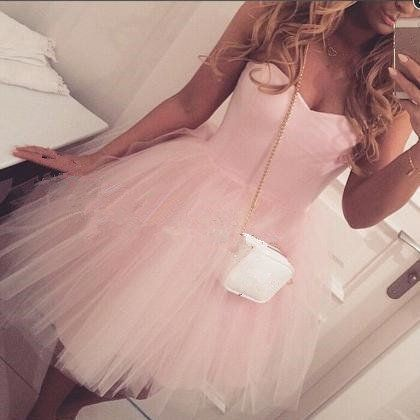 Cute Pink Short Tulle Prom Dresses , Homecoming Dresses, Graduation Dresses S885