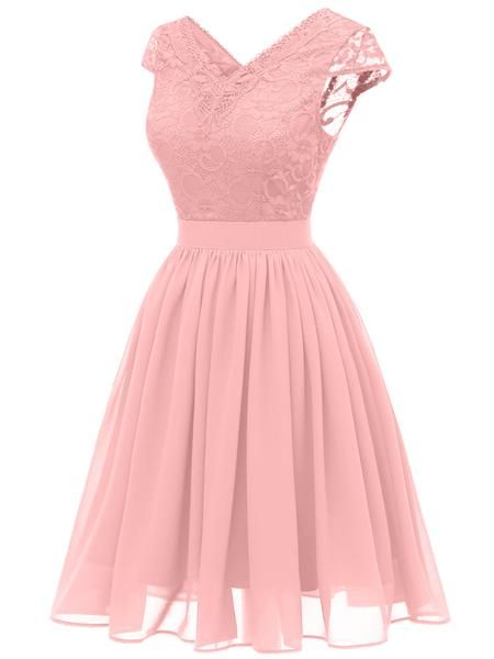Sexy  Pink  Lace  Homecoming Dress   S886