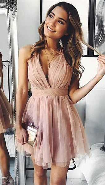 Cute Short Pink Tulle Homecoming Dress   S892