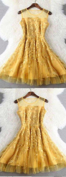 Homecoming Dress, Homecoming Dress Yellow, Homecoming Dress Cheap, Lace Homecoming Dress  S893