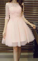 Short Sleeve Tulle Homecoming Dress With Appliques S908