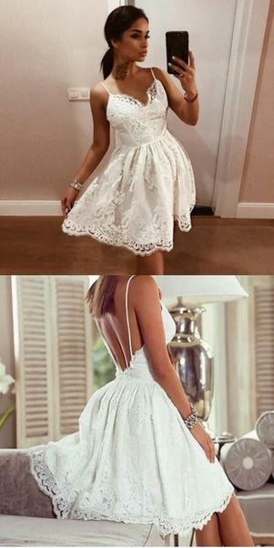 Charming Popular Cheap Spaghetti Straps Backless Homecoming Dresses with Lace Appliques   S91