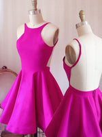 Simple Short A-line Hot Pink Homecoming Dress with Criss Cross Back    S919