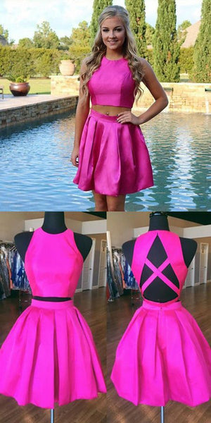 Two Piece A-Line Jewel Open Back Satin Short Homecoming Dress With Pleats  S921