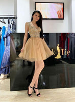 Gold sweetheart neck tulle short homecoming dress, homecoming dress  S930