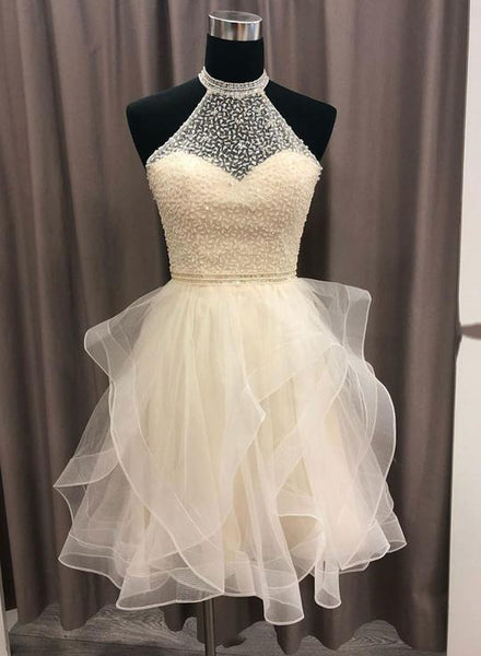 Champagne round neck tulle beads short homecoming dress, homecoming dress  S931