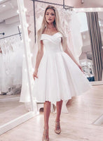 White v neck satin short homecoming dress, evening dress S937