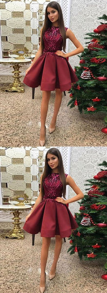 Burgundy round neck sequins short homecoming  dress, homecoming dress S945