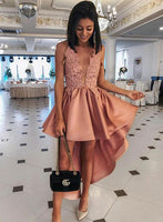 Pink v neck lace short homecoming  dress, high low evening dress S946