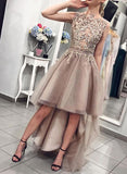 Champagne lace high low prom dress, evening dress S948