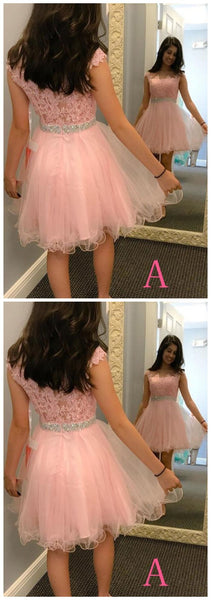 Homecoming Dress,Short Tulle Prom Dresses With Bead Waist,Lace Appliques Graduation Dress S94