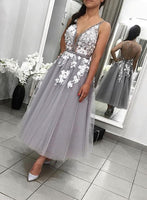 Gray v neck tulle lace short homecoming  dress, evening dress S950