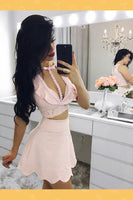 Two Pieces Party Dress, Homecoming Dress Pink, Homecoming Dress Lace  S96