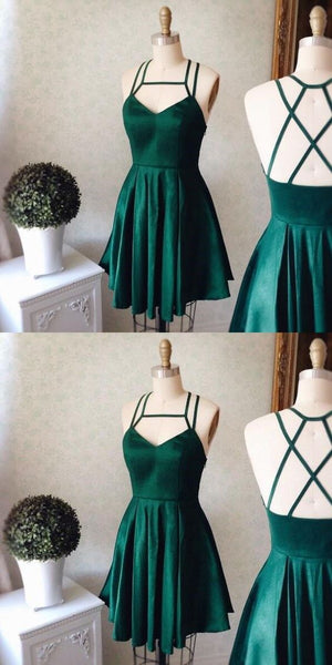 Emerald Homecoming Dress,Short Party Dress,Green Straps Formal Dress,V neck Short Prom Dress  S95
