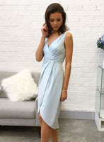 Simple v neck blue short homecoming dress, homecoming dress  S964