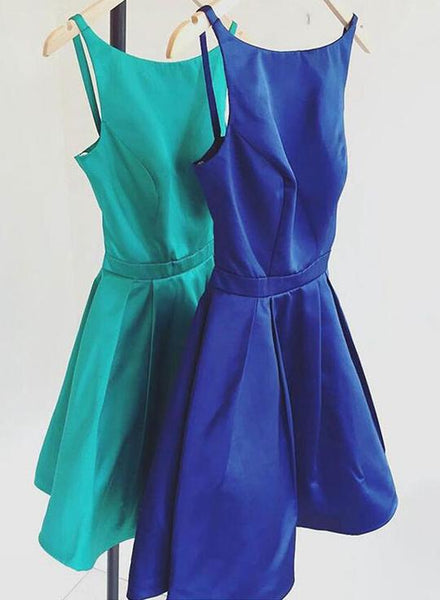 Cute satin short homecoming  dress, homecoming dress  S965